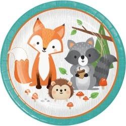 Erdei állatos tányér - 23 cm-es, 8 db-os