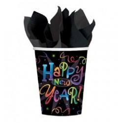 Szilveszteri Happy New Year Feliratos Parti Pohár - 8 db-os