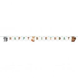 Erdei állatos szülinapi dekorációs Happy Birthday füzér
