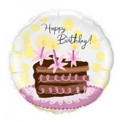 18 inch-es Birthday Chocolate Cake Slice - Tortás Szülinapi Héliumos Fólia Lufi