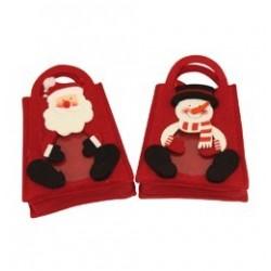 Mikulásos/Hóemberes Piros Mini Ajándéktáska Mikulásra és Karácsonyra - 2 féle
