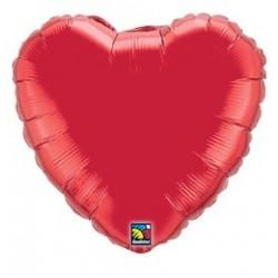 4 inch-es Rubinvörös - Ruby Red Szív Fólia Lufi (5 db/csomag)