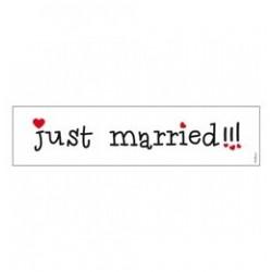 Just Married Szívekkel Feliratú Esküvői Rendszámtábla - 50 cm x 11 cm