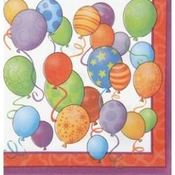 Birthday Balloons - Léggömbös Szülinapi Szalvéta - 33 cm x 33 cm, 16 db-os