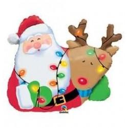 36 inch-es Mikulás és Rudolf - Santa és Rudolph Karácsonyi Fólia Lufi
