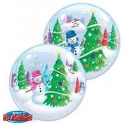 22 inch-es Festive Trees and Snowmen - Hóember és Karácsonyfa Bubble Lufi
