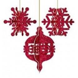 Piros Glitteres 3D Karácsonyi Függő Dekoráció