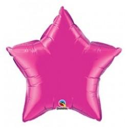 20 inch-es Sötét Rózsaszín - Magenta Csillag Fólia Lufi