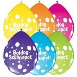 11 inch-es Boldog Szülinapot Big Polka Dots Neck Up Asst. Szülinapi Lufi (5 db/csomag)