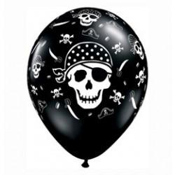 11 inch-es Pirate Skull Koponyás Kalózos Onyx Black Lufi