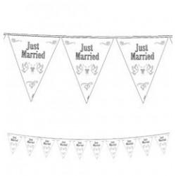 Just Married Feliratú Esküvői Zászlófüzér - 10 m