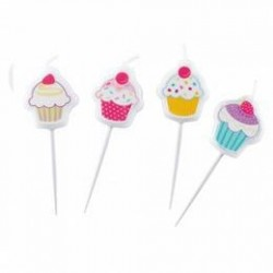 Cupcake - Muffin Mintás Parti Gyertya Szett - 4 db-os