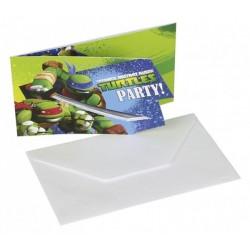 Teenage Mutant Ninja - Tini Nindzsa Parti Meghívó - 9 cm x 14 cm, 6 db-os