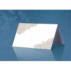 Esküvői Fehér Ültetőkártya Ezüst Mintával - 25 db-os