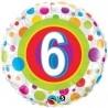 18 inch-es 6-os Colorful Dots - Színes Pöttyös Szülinapi Számos Fólia Lufi
