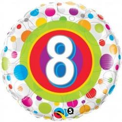18 inch-es 8-as Colorful Dots - Színes Pöttyös Szülinapi Számos Fólia Lufi