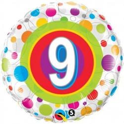 18 inch-es 9-es Colorful Dots - Színes Pöttyös Szülinapi Számos Fólia Lufi