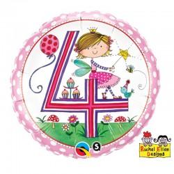 18 inch-es 4-es Számos Fairy Polka Dots Szülinapi Fólia Lufi