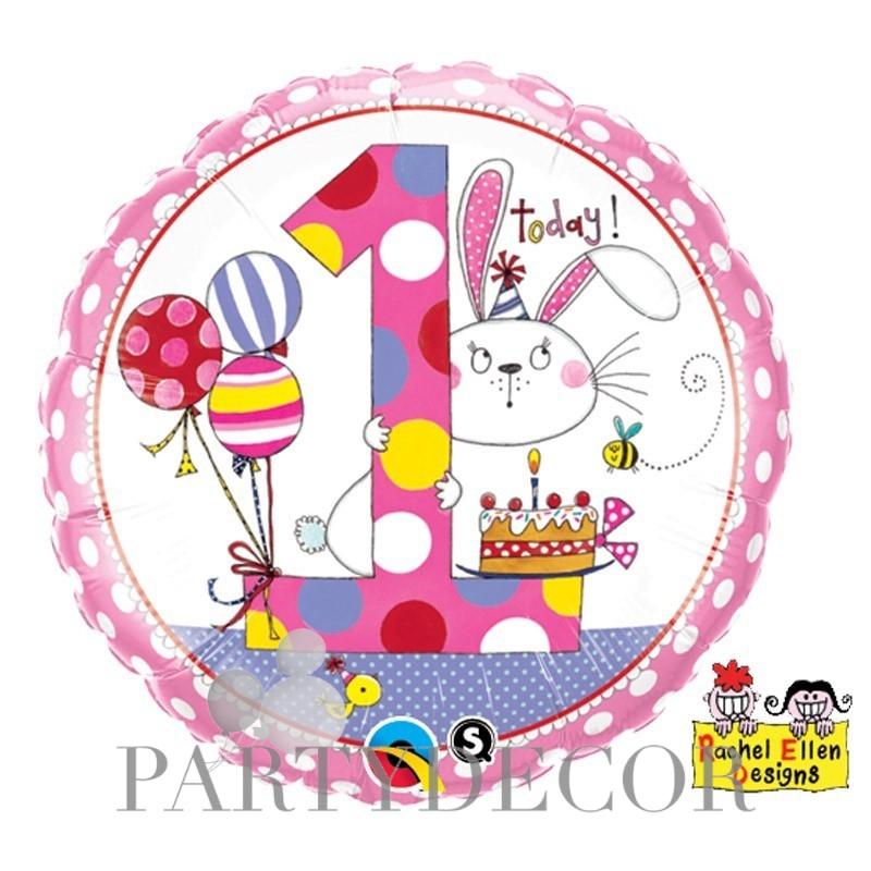 18 inch-es 1-es Számos Bunny Polka Dots Szülinapi Fólia Lufi