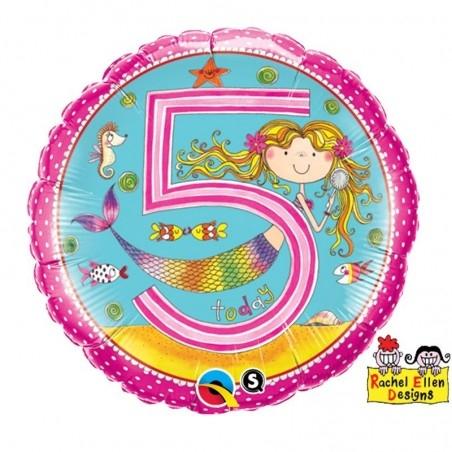 18 inch-es 5-ös Számos Mermaid Polka Dots Szülinapi Fólia Lufi