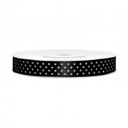 Fekete, Fehér Pöttyös Szatén Szalag (12 mm x 25 m)