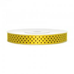 Sárga, Fekete Pöttyös Szatén Szalag (12 mm x 25 m)