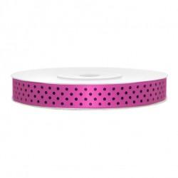 Pink, Fekete Pöttyös Szatén Szalag (12 mm x 25 m)