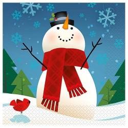 Joyful Snowmen Parti Tányér Karácsonyra - 18 cm, 8 db-os