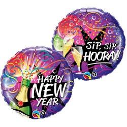 Szilveszteri Fólia Lufi Pezsgősüveges - New Year Sip, Sip, Hooray