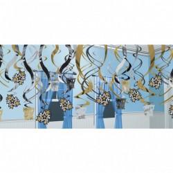 Happy New Year Szilveszteri Spirális Függő Dekoráció
