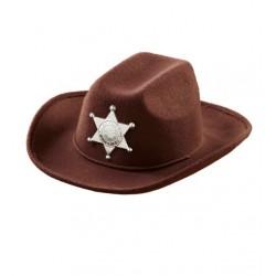 Barna cowboy kalap esüst sheriff csillaggal