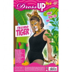 Tigris jelmez szett, tigris fül, nyakkendő és farok