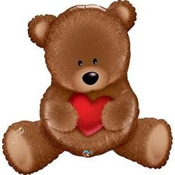 Maci szívvel Love Szerelmes Fólia Lufi 89 cm-es