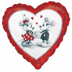 Mickey & Minnie Love Holographic Fólia Lufi 46 cm-es