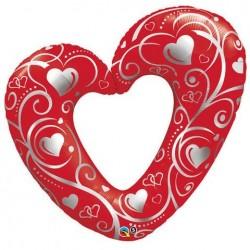 14 inch-es Hearts & Filigree Red Szerelmes Fólia Lufi
