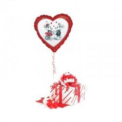 Valentin Napi Lufi Mickey & Minnie Love Holographic Fólia Lufi 46 cm-es Díszdobozban