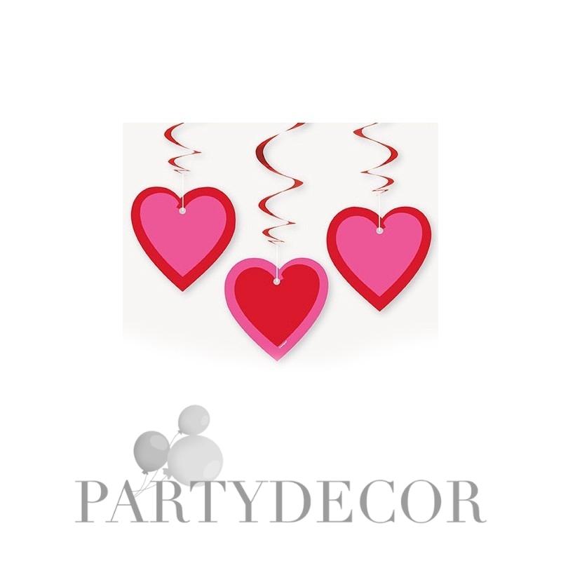 Valentin napi dekoráció szív alakú kartonok spirális függőkön 681ca76ecb