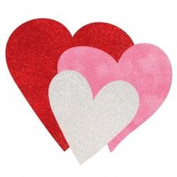Glitteres Fehér Pink Piros Karton Dekoráció, 6 db-os
