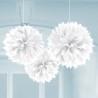 Pom-pom dekoráció fehér színű 40 cm-es