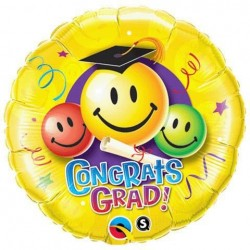Ballagási Smile Lufi 18 inch-es Gratulálunk - Congrats Grad Smiley Faces
