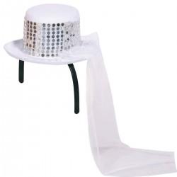 Esküvői Fehér, Glitteres Kalap Fejpánt Fátyollal Lánybúcsúra