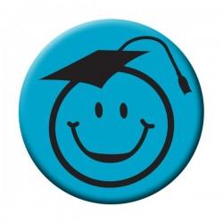 Kalapos Smile Fej Kék Kitűző Ballagásra - 5,5 cm