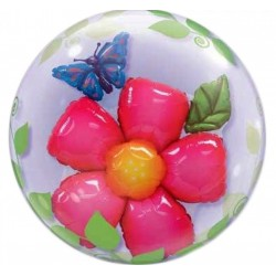 Héliumos double bubble virágos pillangós lufi 61 cm