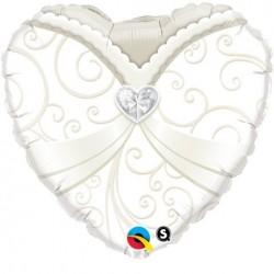 Esküvői menyasszony szív fólia lufi 46 cm