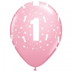 Első szülinapos rózsaszín, számos gumi lufi (6 db/csomag) 28 cm