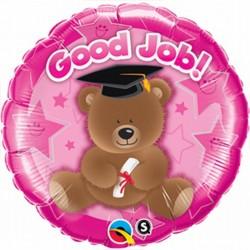 Good Job feliratos, macis, rózsaszín ballagási fólia lufi 46 cm