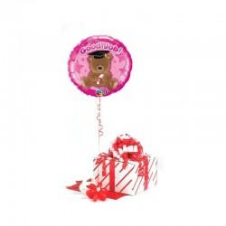 Good Job feliratos, macis, rózsaszín ballagási fólia lufi 46 cm-es díszdobozban