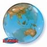 Földgömb mintás Bubble lufi 56 cm