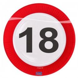 18-as Számos Sebességkorlátozó Szülinapi Parti Tányér - 23 cm, 8 db-os