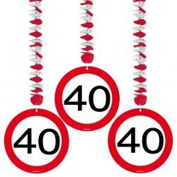 40-es Sebességkorlátozó Szülinapi Parti Függő Dekoráció